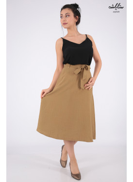 Soft mini skirt with a belt that increases elegance