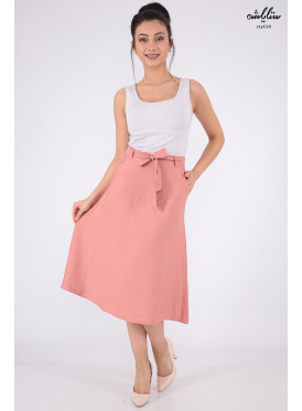 A soft powder-colored mini skirt with a belt that increases elegance