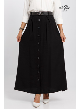 Elegant black skirt decorated with buttons and a stylish belt