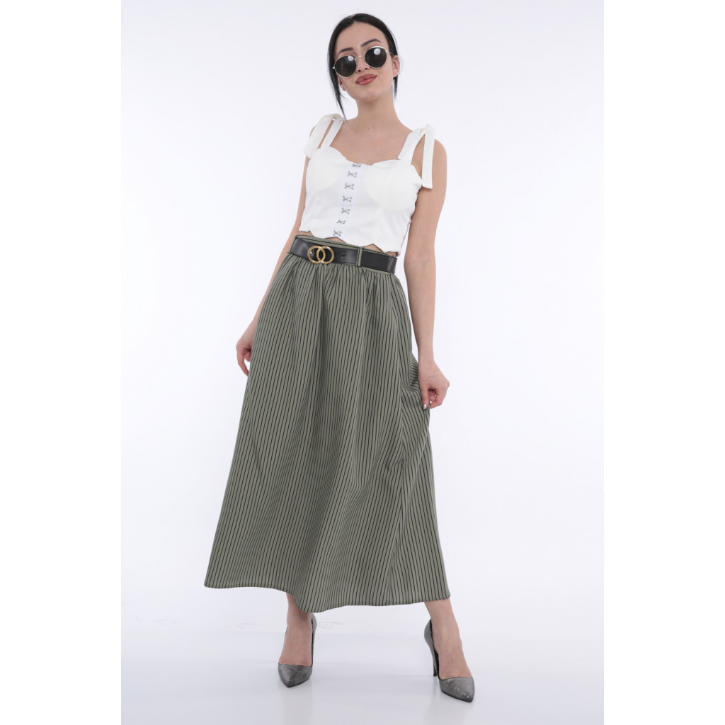 Elegant green skirt with black striped design that accentuates an attractive look