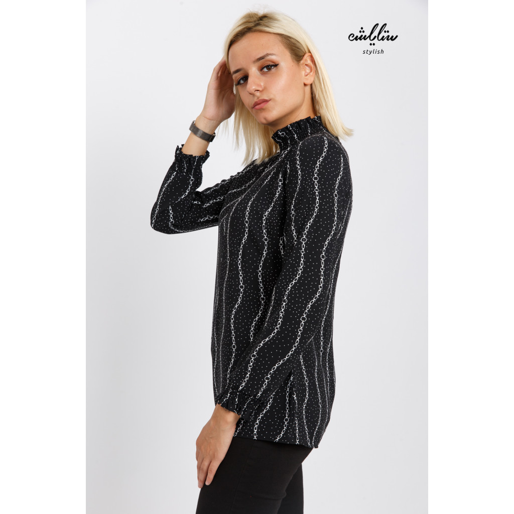 Soft black blouse with striped strings design