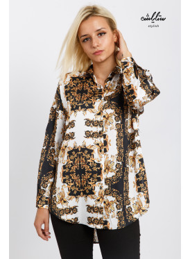 A high-end blouse with a wide design and a formal collar with a modern and attractive pattern