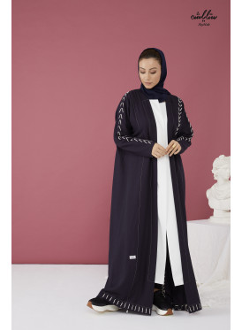 Linen abaya with wrap model in blue and white color