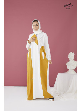 Kuwaiti wrapped abaya in white and mustard color