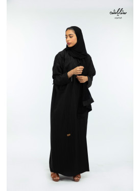 linen Bahraini wrap Abaya in black color