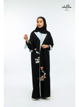 Kuwaiti wrap abaya in black and gray color, with embroidery decorations