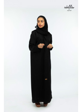 Linen black abaya, with fine embroidery