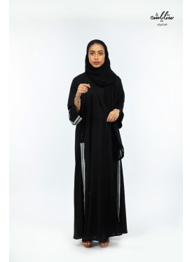 Kuwaiti klush abaya embroidered in black color