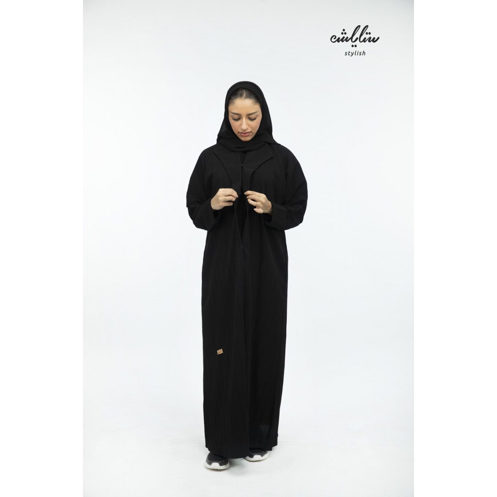 Kuwaiti abaya with black buttons with stripes