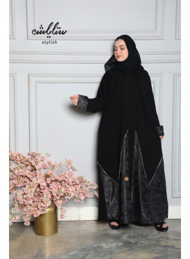 Royal crepe abaya in black color, with inserts of jacquard fabric