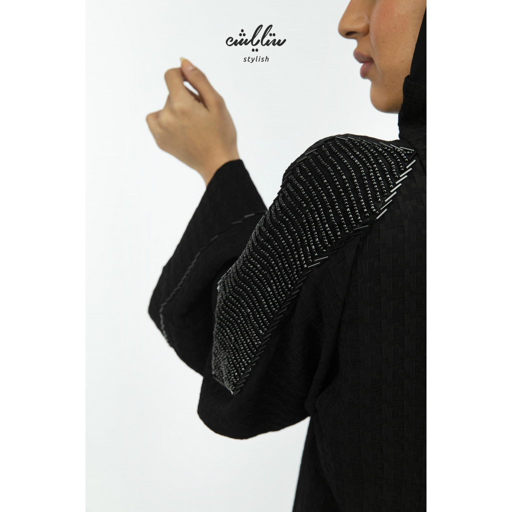 Special black abaya decorated with embroidery