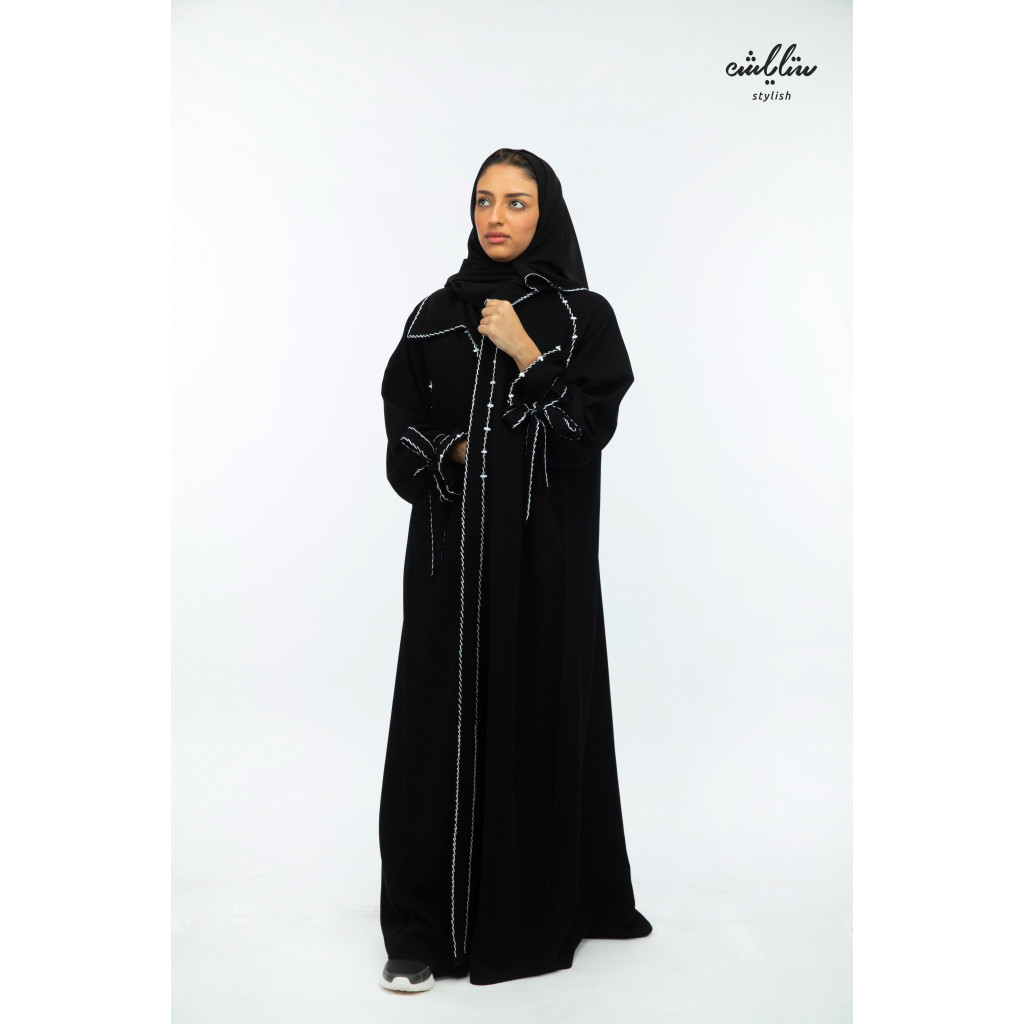 Special wrap abaya with delicate embroidery in black