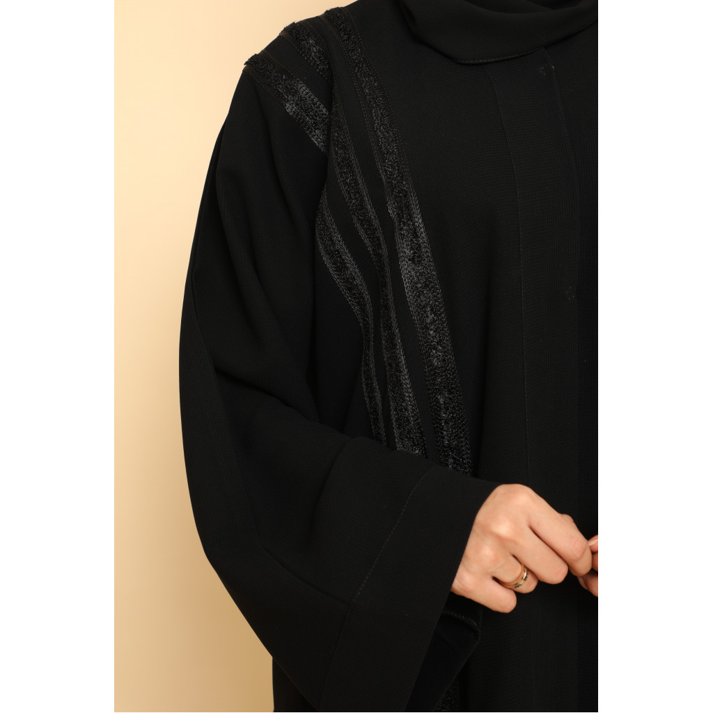 Wide abaya, Klush, in black, with a soft look