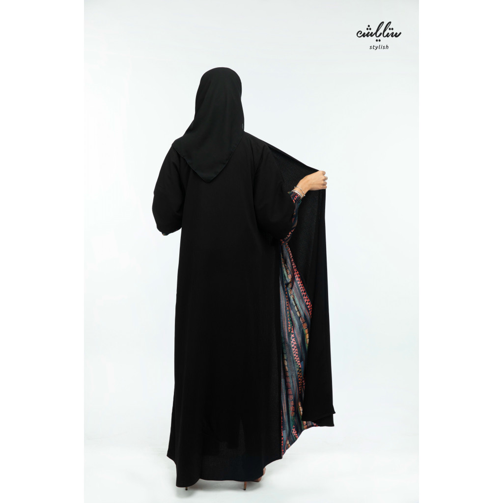 Touches Wrap Abaya in black color with colored inserts