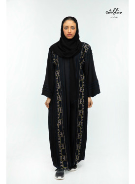 Linen abaya with wrap model in black, Sadu design