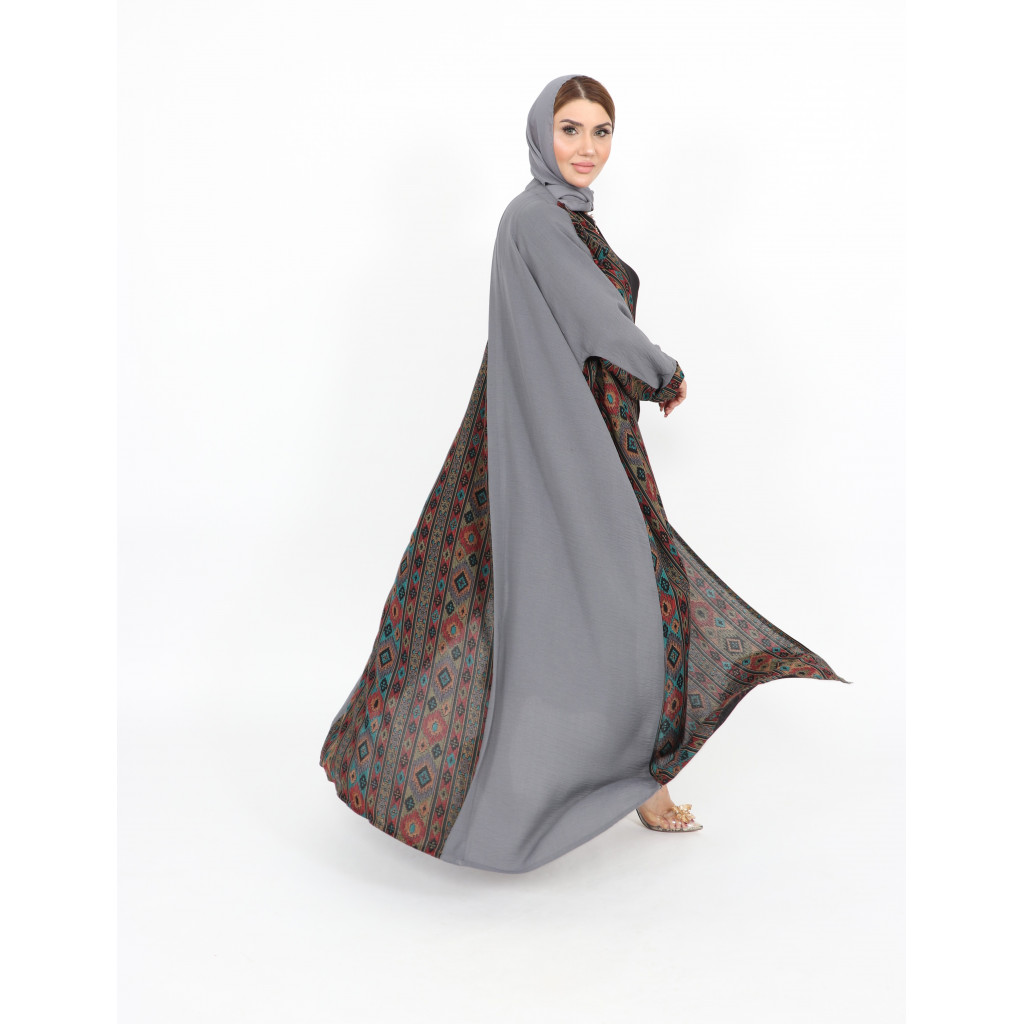 Linen abaya wrap model in gray color with an elegant decoration