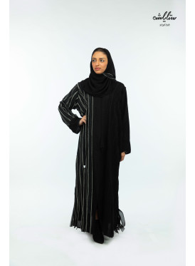 An elegant black abaya, stitched all over the abaya