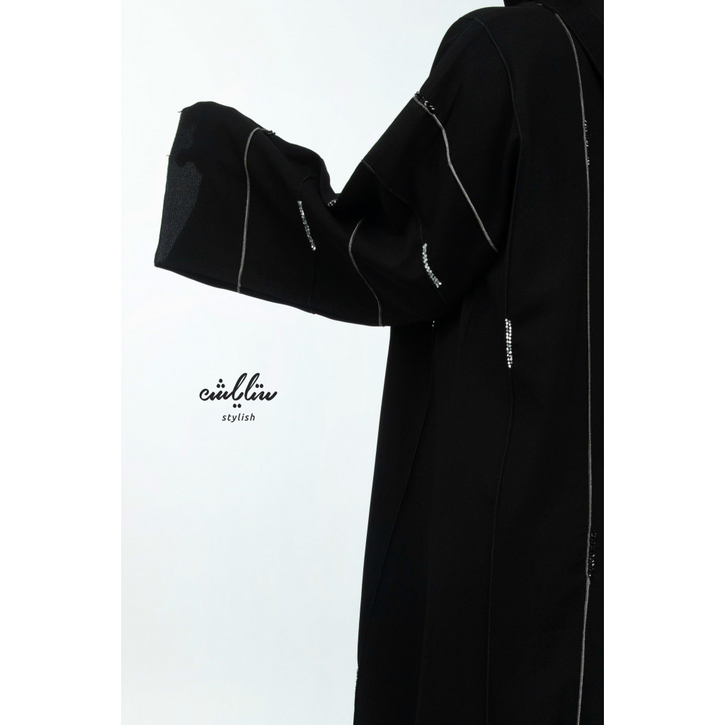 Biscotti black abaya with a soft look all over the abaya