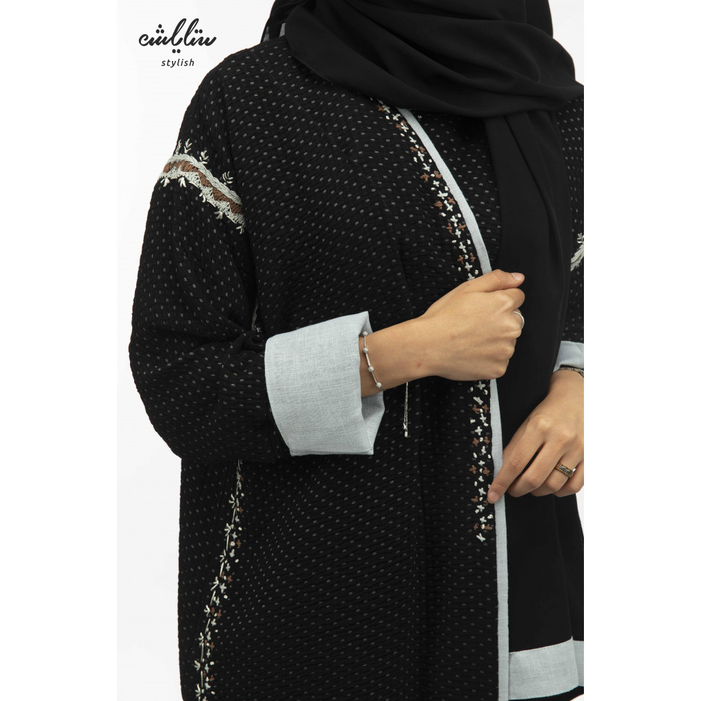 Shakira wrap abaya in black with hand embroidery