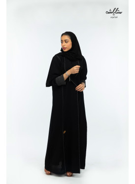 Black wrap abaya with a jacket collar design