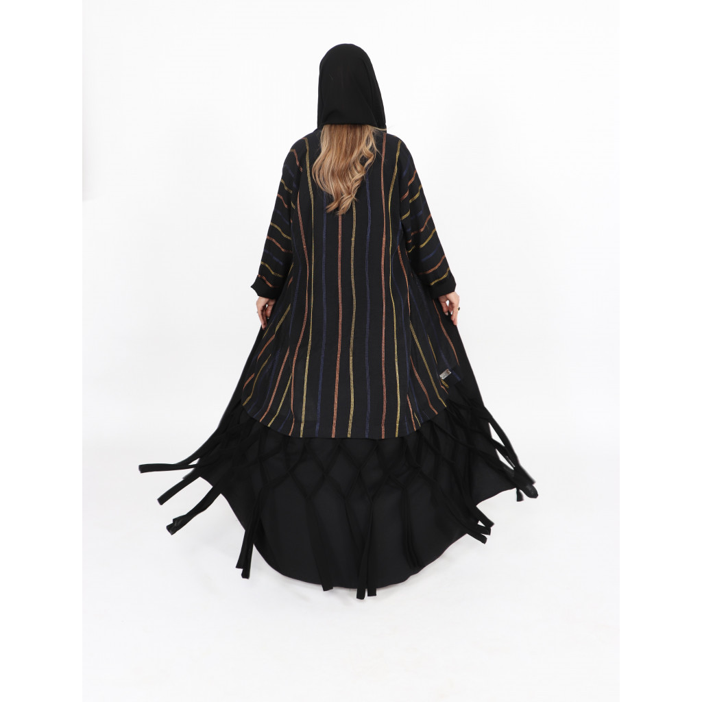 Linen wrapped abaya in black with colorful longitudinal lines