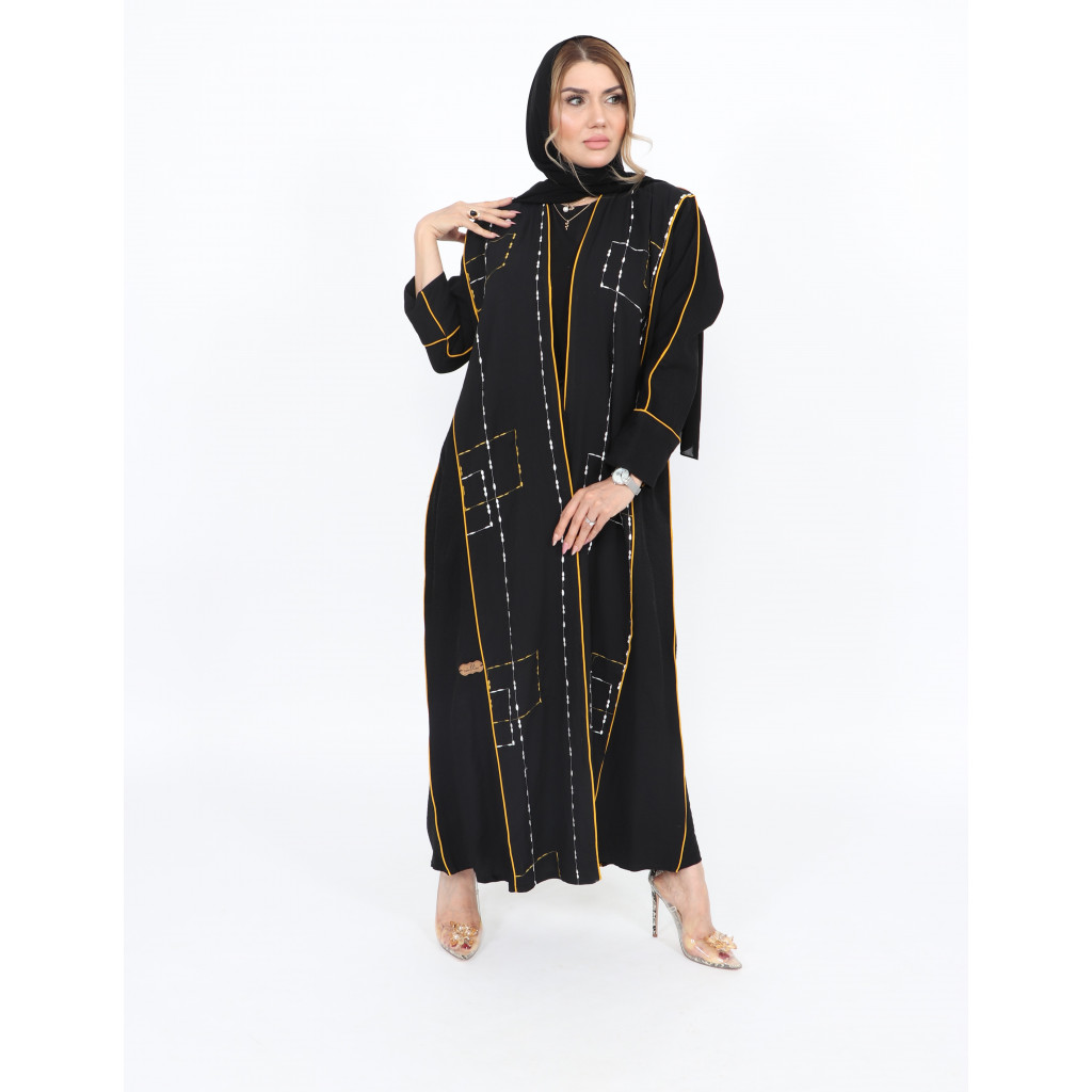 Linen wrap abaya in black color, with embroidery on the front and back