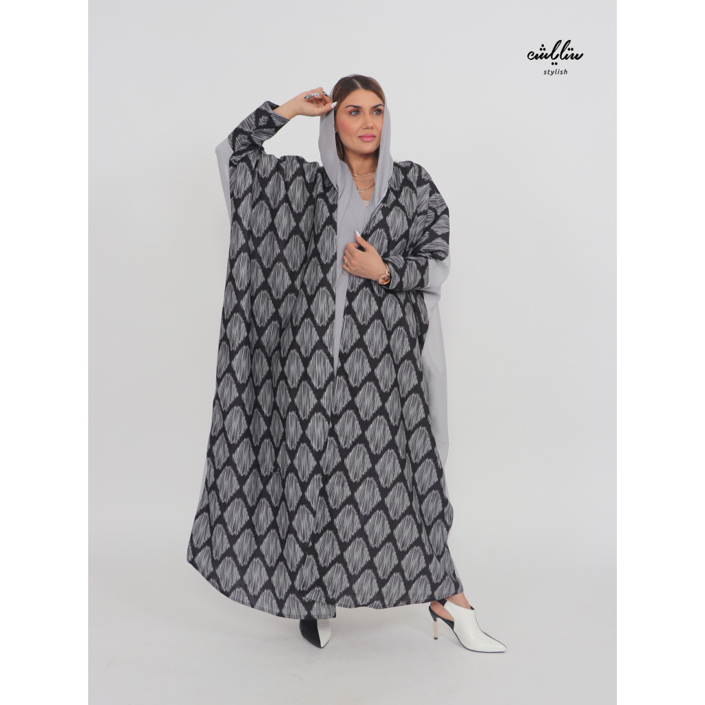 Linen Emirati wrap abaya in black and gray color