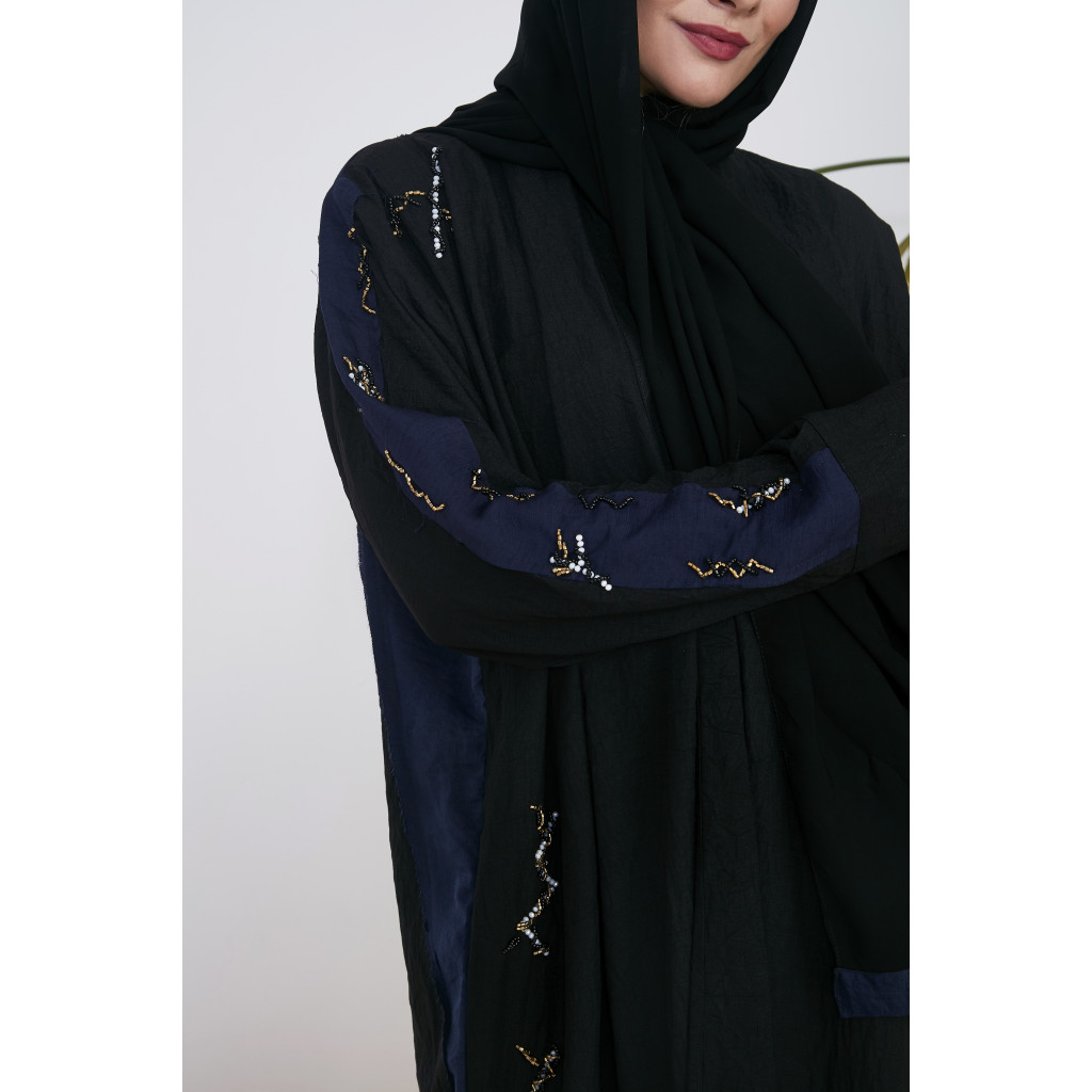 Wide Linen Abaya, in black and navy, with fine embroidery