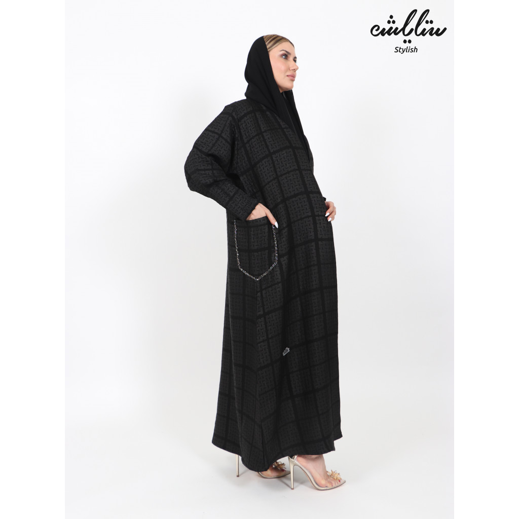 Panorama black abaya with fine embroidery on the pocket