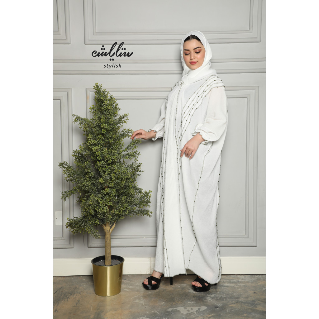 Crepe wrapped abaya with fine embroidery