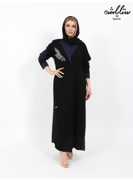Wrap abaya in black and navy with a jacket design