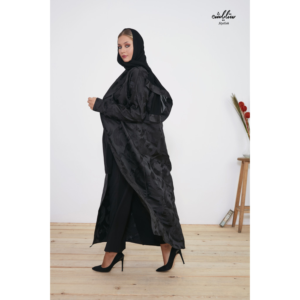 Abaya in black embroidered with jacket design