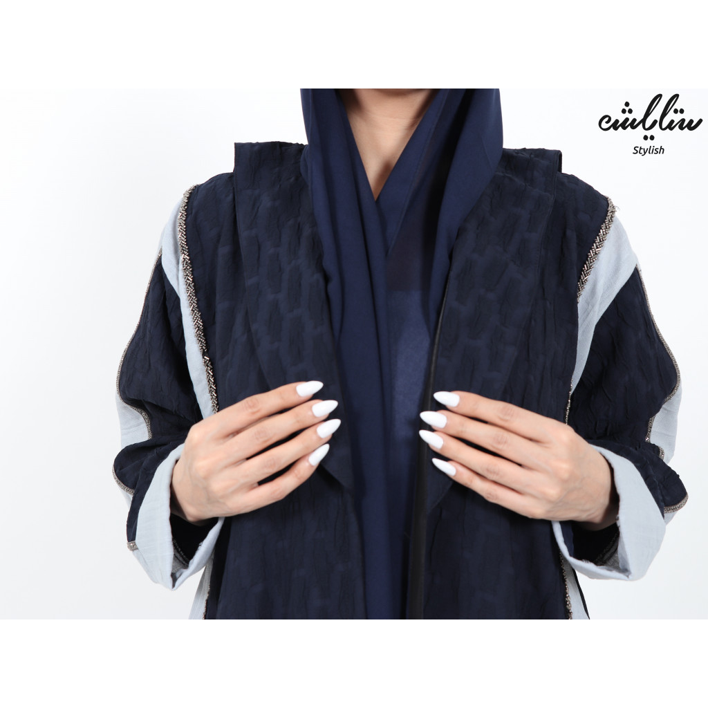 Classic abaya, in navy and gray color, Wrap design