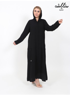 Classic black abaya decorated with crystals