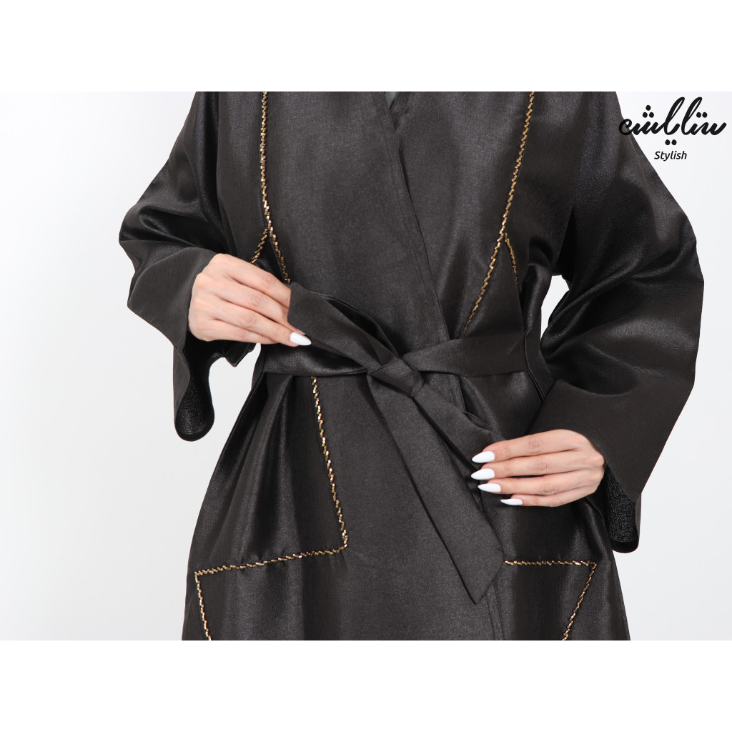 Wrap design abaya with delicate embroidery