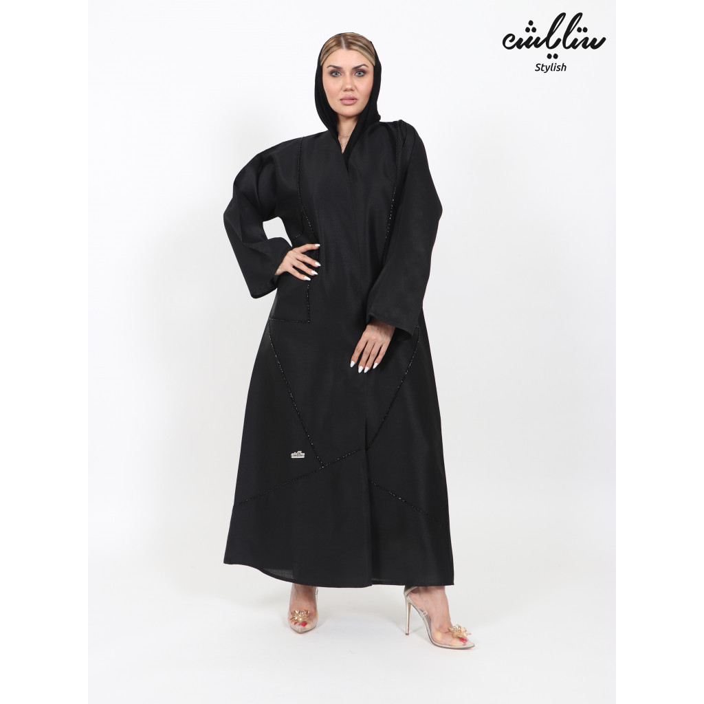 Abaya in black, embroidered with beads, wrap design