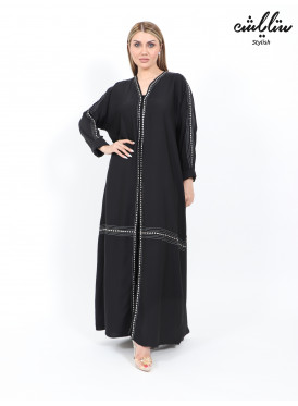 Black silk abaya with fine embroidery