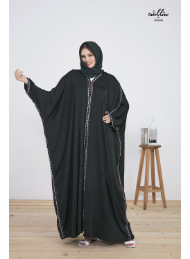 Washed silk abaya in a butterfly design, with fine embroidery