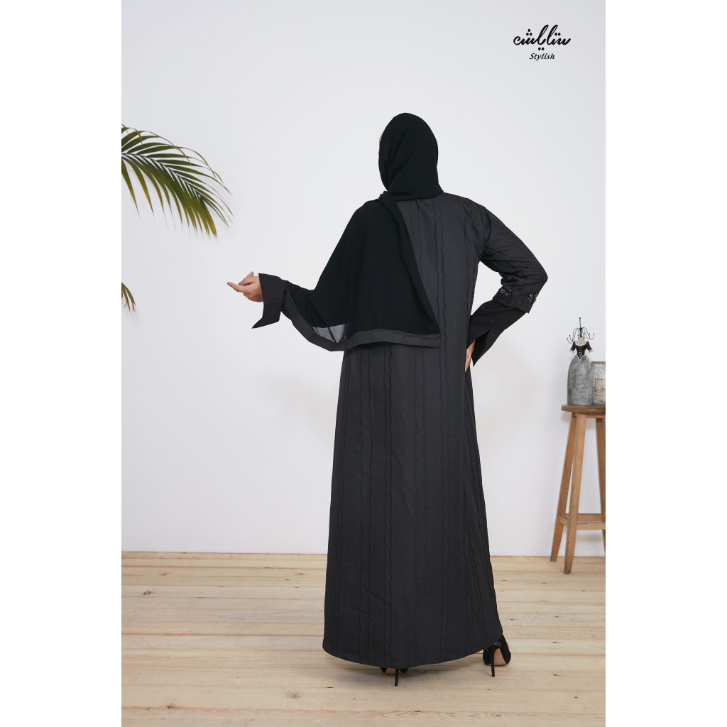 Stylish black abaya with jacket design