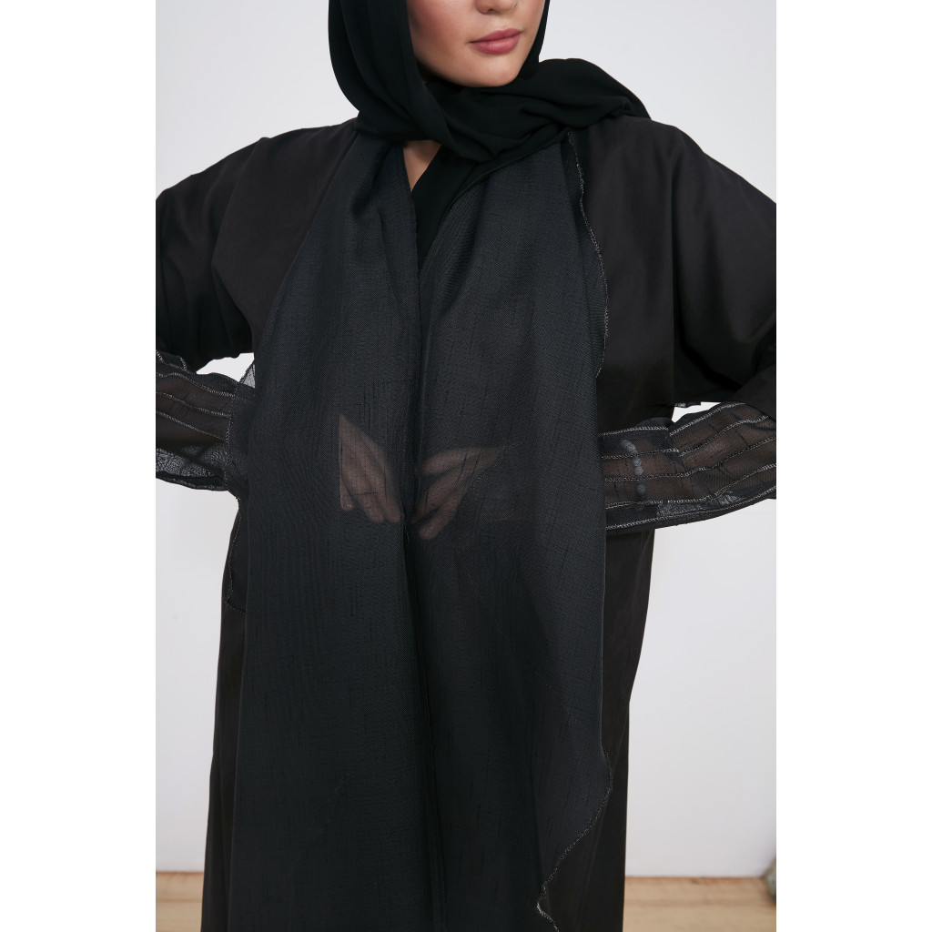 Abaya wrapped suede black color