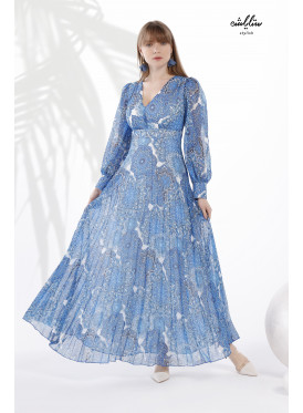 V Neck and Plisse Hem long Dress in a soft blue color with wide drop-sleeves for an attractive look