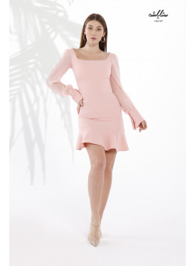 Contrast Chiffon Sleeve & Distinctive Grip Fitted Dress