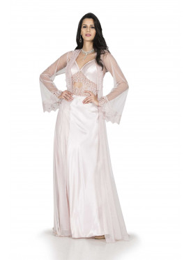 A two-piece bridal nightgown in powder color