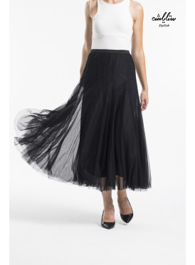 Flared tulle skirt with frill hem
