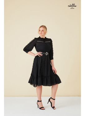 2pcs black dress decorated with tulle on the sleeves and front buttons