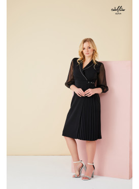 V neck warp  pleated black dress with chiffon sleeves decorated with crystals edging