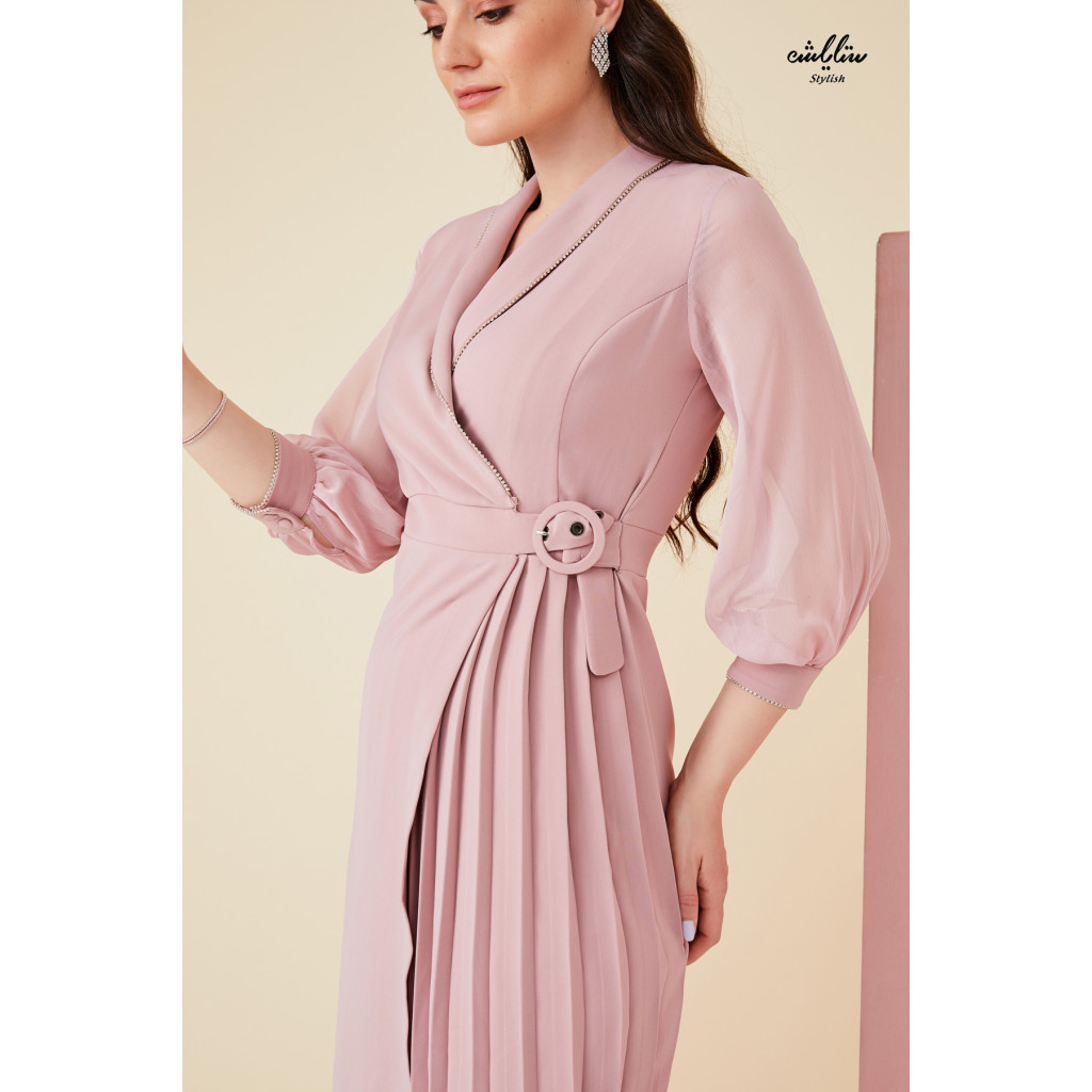 V neck warp  pleated dress with chiffon sleeves decorated with crystals edging