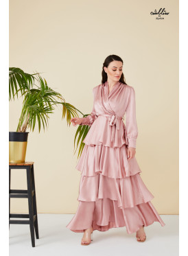 V neck self belted maxi dress with many ruffled layered