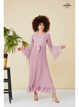 Round up neckline self belted maxi dress