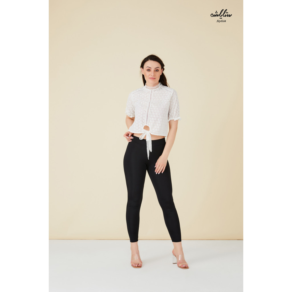 Schiffy fabric high neck blouse with tie waist